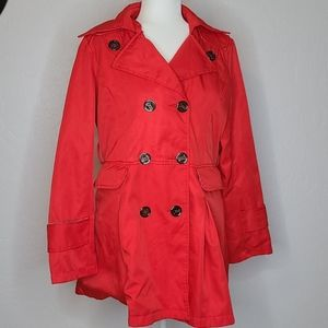 Burberry red trench coat size large